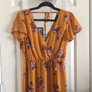 Mustard Yellow Faux Wrap Maxi Floral Dress
